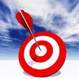 Схематическая красная доска цели дротика с стрелкой в центре на облаках Стоковые Фото