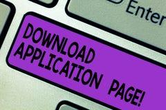 Схематическая страница приложения загрузки показа сочинительства руки Компьютер текста фото дела получает данные от интернета стоковое изображение rf