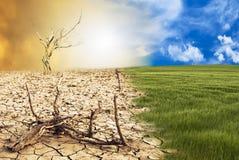 Схематическая сцена, изменение климата стоковая фотография rf
