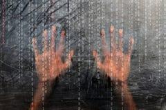 Схематические двоичные числа с человеческими руками стоковое изображение