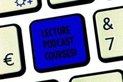 Схематические курсы Podcast лекции по показа сочинительства руки Текст фото дела онлайн распределение записанной лекции стоковые изображения rf