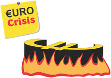 схематический вектор illustratio Греции евро кризиса Стоковое Изображение RF