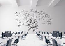 Схематический график на стене комнаты 3D Стоковые Изображения