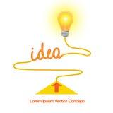 Схематический значок вектора, предпосылка конспекта идеи электрической лампочки иллюстрация штока