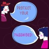 Схематический показывать сочинительства руки защищает ваш пароль Текст фото дела защищает информацию доступную через компьютеры иллюстрация вектора