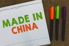 Схематический показ сочинительства руки сделанный в Китае Коммерция рынка оптовой индустрии текста фото дела глобальная торговая  стоковые фото