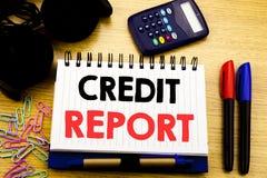 Схематический титр текста сочинительства руки показывая справку о кредитоспособности Концепция дела для проверки счета финансов н Стоковое Фото