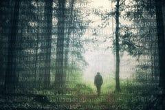 Схематический человек в предпосылке леса и двоичных чисел Стоковое Фото
