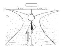 Схематический шарж бизнесмена на перекрестке делая выбор иллюстрация вектора