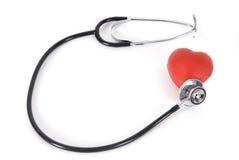 схематическим изолированная сердцем белизна стетоскопа Стоковая Фотография