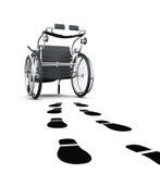 Схематическое изображение кресло-коляскы и следов ноги перевод 3d иллюстрация штока