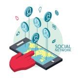 Схематическое изображение с социальными сетями плоско Стоковое Изображение RF