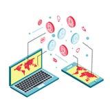 Схематическое изображение с социальными сетями плоско Стоковые Изображения