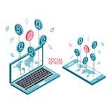 Схематическое изображение с социальными сетями плоско Стоковые Фото