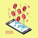 Схематическое изображение с социальными сетями плоско Стоковые Изображения RF