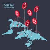 Схематическое изображение с социальными сетями плоско Стоковая Фотография