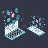 Схематическое изображение с социальными сетями плоско Стоковое Фото