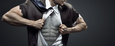 Схематическое изображение утомленного мышечного бизнесмена Стоковые Фотографии RF