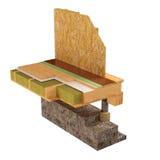 схематическое изображение 3d дома рамки изоляции и строительной конструкции Стоковое Изображение