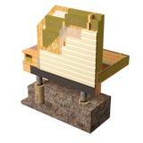 схематическое изображение 3d дома рамки изоляции и строительной конструкции Стоковая Фотография