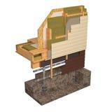 схематическое изображение 3d дома рамки изоляции и строительной конструкции Стоковое фото RF