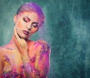 Схематическое искусство тела на женщине Стоковые Изображения