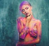 Схематическое искусство тела на женщине Стоковая Фотография RF