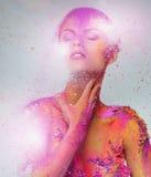 Схематическое искусство тела на женщине Стоковое Изображение
