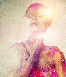 Схематическое искусство тела на женщине Стоковое Изображение RF