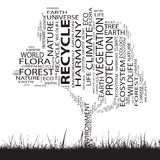 Схематическое облако слова дерева экологичности Стоковая Фотография RF