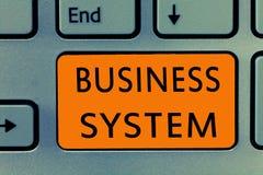 Схематическое сочинительство руки показывая бизнес-систему Метод текста a фото дела анализировать информацию организаций стоковая фотография rf