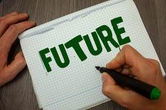 Схематическое сочинительство руки показывая будущее Период времени текста фото дела следовать событиями присутствующего момента к Стоковое Изображение