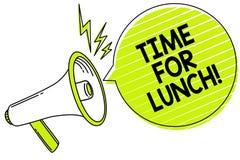Схематическое сочинительство руки показывая время для обеда Момент текста фото дела для того чтобы иметь перерыв на обед от работ иллюстрация штока