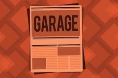 Схематическое сочинительство руки показывая гараж Здание текста фото дела для расквартировывать моторный транспорт или корабли дл бесплатная иллюстрация