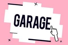 Схематическое сочинительство руки показывая гараж Здание фото дела showcasing для расквартировывать моторный транспорт или корабл иллюстрация штока