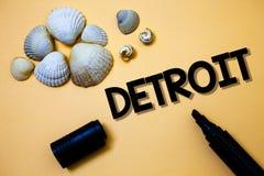 Схематическое сочинительство руки показывая Детройт Город текста фото дела в столице Соединенных Штатов Америки Мичигана Motown Y стоковые фотографии rf