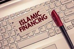 Схематическое сочинительство руки показывая исламское финансирование Деятельность при и вклад банка фото дела showcasing то стоковое фото