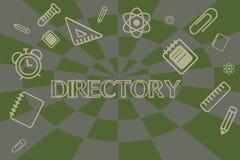 Схематическое сочинительство руки показывая каталог Книга или вебсайт фото дела showcasing перечисляя организации индивидуалов иллюстрация вектора