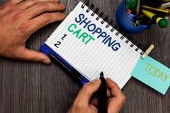 Схематическое сочинительство руки показывая магазинную тележкау Бакалеи и товар нося вагонетки случая фото дела showcasing укомпл стоковая фотография