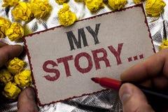 Схематическое сочинительство руки показывая мой рассказ Wr портфолио профиля личной истории достижения жизнеописания фото дела sh стоковая фотография