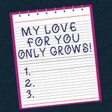 Схематическое сочинительство руки показывая мою любовь для вас только растет Текст фото дела выражая roanalysistic чувства хороши стоковая фотография rf