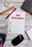 Схематическое сочинительство руки показывая новый вопрос о регулировок Правила фото дела showcasing сделали заказ правительства к стоковая фотография