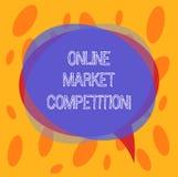 Схематическое сочинительство руки показывая онлайн рыночную конкуренцию Соперничество текста фото дела между компаниями продавая  иллюстрация штока