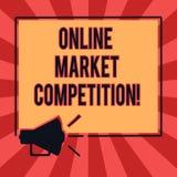 Схематическое сочинительство руки показывая онлайн рыночную конкуренцию Соперничество текста фото дела между компаниями продавая  бесплатная иллюстрация