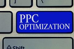 Схематическое сочинительство руки показывая оптимизирование Ppc Повышение фото дела showcasing платформы поисковой системы для стоковое изображение