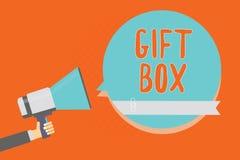 Схематическое сочинительство руки показывая подарочную коробку Фото дела showcasing cointainer a малое с дизайнами способными рег иллюстрация вектора