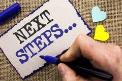 Схематическое сочинительство руки показывая следующие шаги План стратегии движений фото дела showcasing следовать дает директиву  Стоковые Фотографии RF