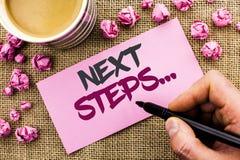 Схематическое сочинительство руки показывая следующие шаги План стратегии движений текста фото дела следовать дает написанную дир Стоковое фото RF