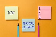 Схематическое сочинительство руки показывая финансовую грамотность Showcasing фото дела понимает и знающий о том, как деньгах стоковое изображение rf