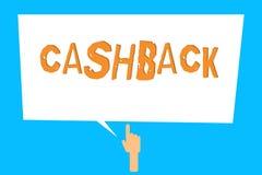 Схематическое сочинительство руки показывая Cashback Стимул фото дела showcasing предложил к покупателям одним продукты whereby п стоковые изображения rf